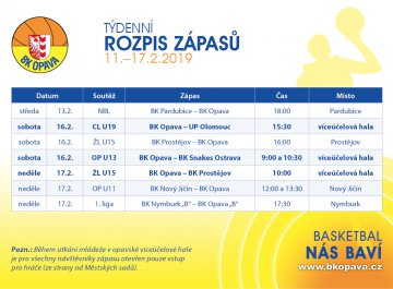 Týdenní rozpis zápasů (11.-17.2.2019)